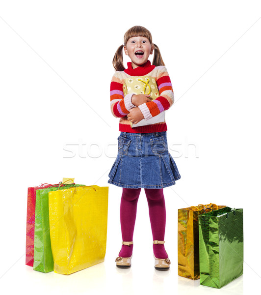 Menina presentes sorridente seis anos Foto stock © sapegina