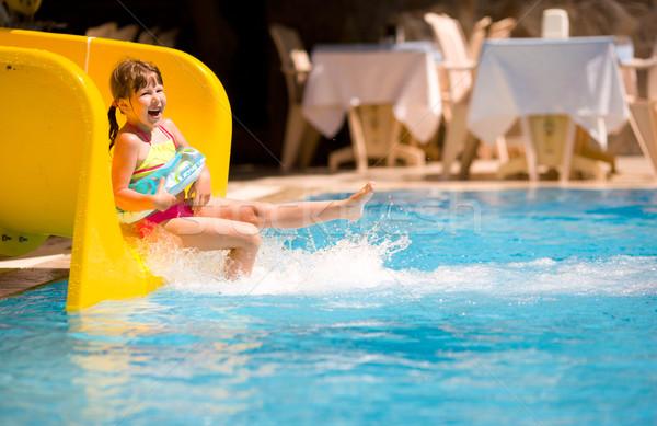 Menina piscina Turquia férias férias de verão criança Foto stock © sapegina