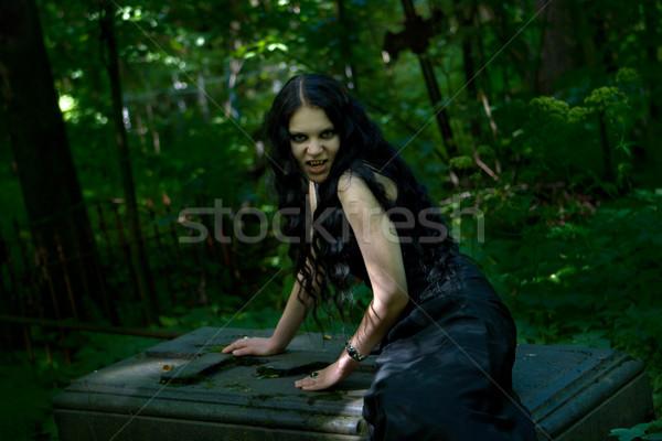 Vampiro sessão lápide escuro mulher atravessar Foto stock © sapegina