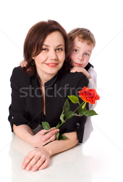 Stok fotoğraf: Anne · oğul · birlikte · yalıtılmış · beyaz · kadın