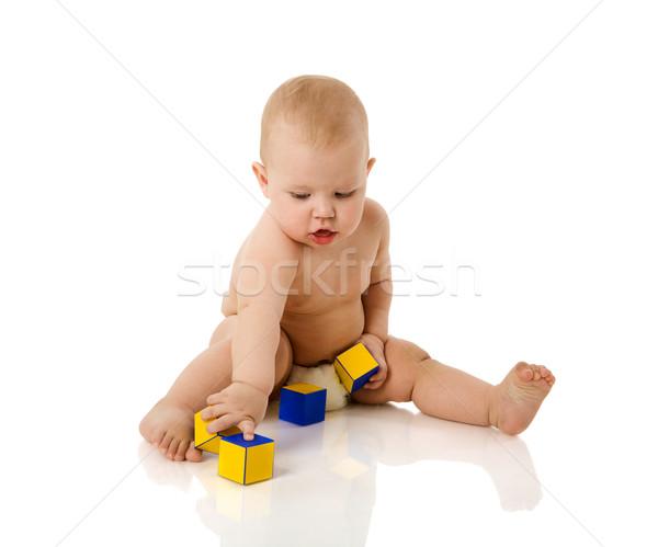 Bebek oynama meraklı yalıtılmış beyaz Stok fotoğraf © sapegina