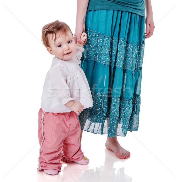 ストックフォト: 母親 · 娘 · 手 · 孤立した · 白