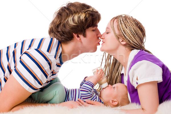 Familia feliz feliz jóvenes familia seis mes Foto stock © sapegina