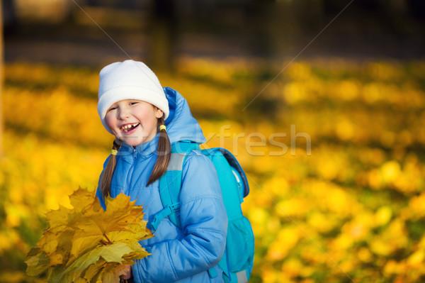 Kız akçaağaç yaprakları yedi yıl Stok fotoğraf © sapegina
