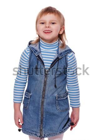 Küçük kız portre kot elbise yalıtılmış Stok fotoğraf © sapegina