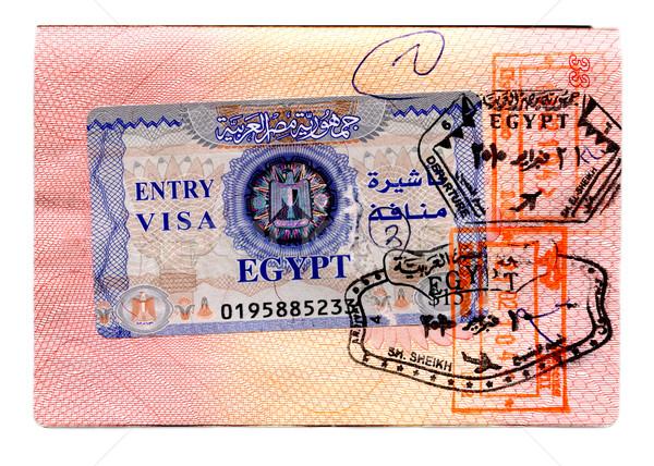 Egyptische visum paspoort nieuwe stempel geïsoleerd Stockfoto © sapegina