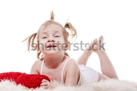 Stok fotoğraf: Küçük · küçük · kız · yalıtılmış · beyaz