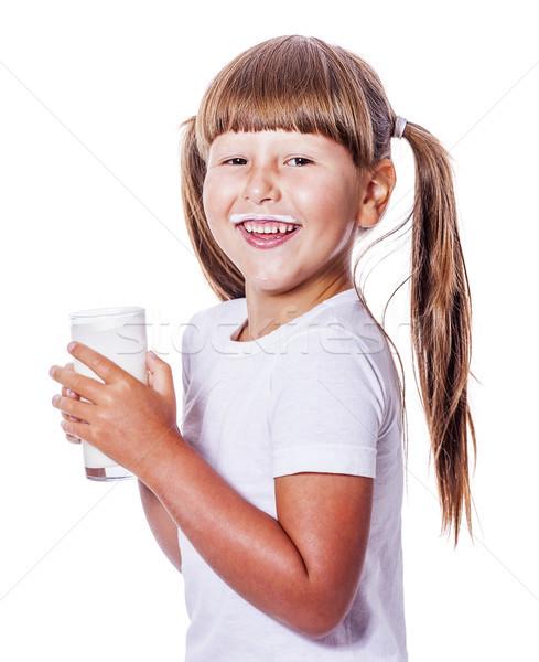Fată lapte sase ani sticlă Imagine de stoc © sapegina
