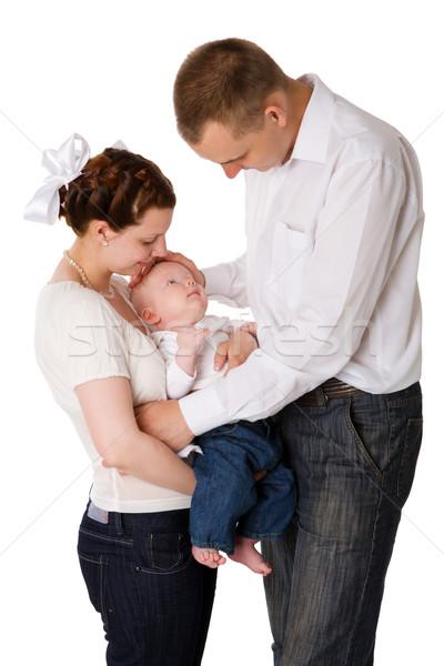 Stok fotoğraf: Mutlu · aile · bebek · birlikte · yalıtılmış · beyaz