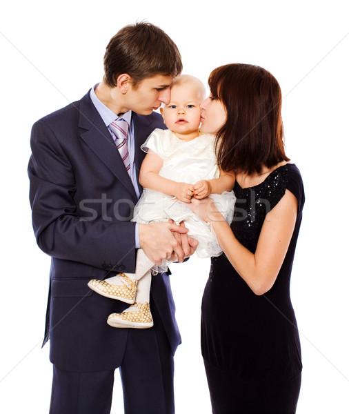 Mutlu aile poz birlikte yalıtılmış beyaz kadın Stok fotoğraf © sapegina