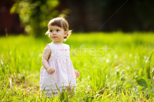Little girl um ano caminhada verão parque Foto stock © sapegina