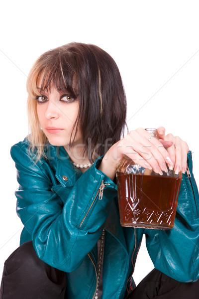 Punk dziewczyna zielone Zdjęcia stock © sapegina