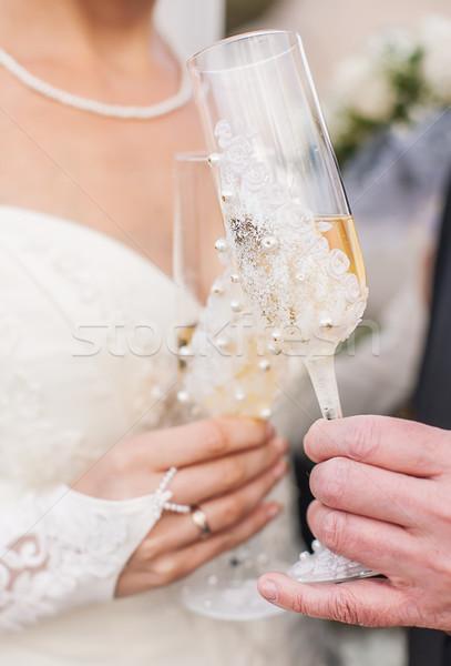 Stockfoto: Handen · bruiloft · champagne · bril · bruid