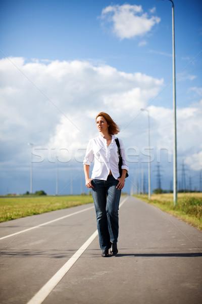 Sétál üres út komoly nő nyár Stock fotó © sapegina