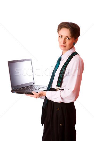 Iş kadını portre dizüstü bilgisayar yalıtılmış beyaz Stok fotoğraf © sapegina