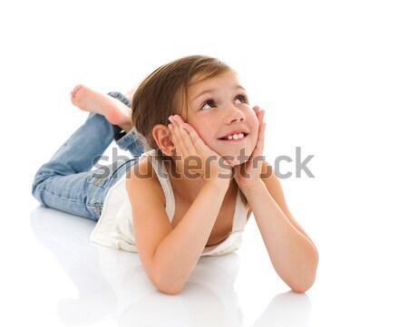 Küçük kız mutlu portre yalıtılmış beyaz kız Stok fotoğraf © sapegina