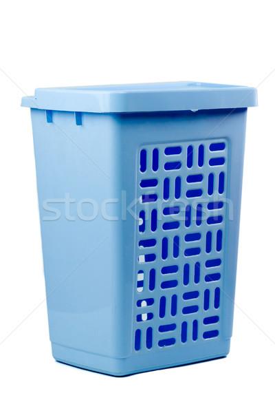 Cestino di lavanderia azzurro vuota plastica isolato bianco Foto d'archivio © sapegina