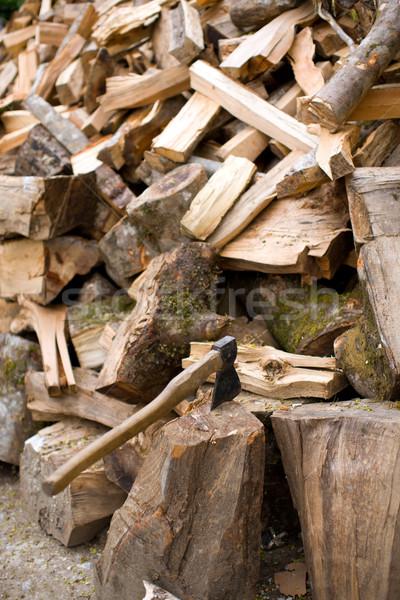 Bijl brandhout hout boom abstract kruis Stockfoto © sapegina