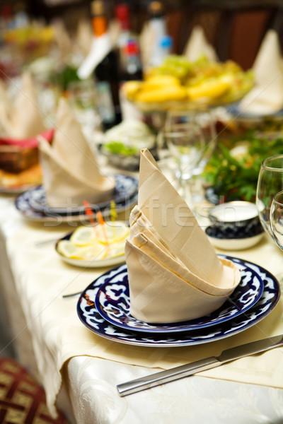 ナプキン レストラン 表 ビッグ パーティ 食品 ストックフォト © sapegina