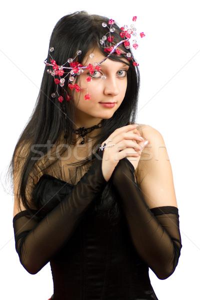 Gyönyörű nő játszik piros toll visel csecsebecsék Stock fotó © sapegina