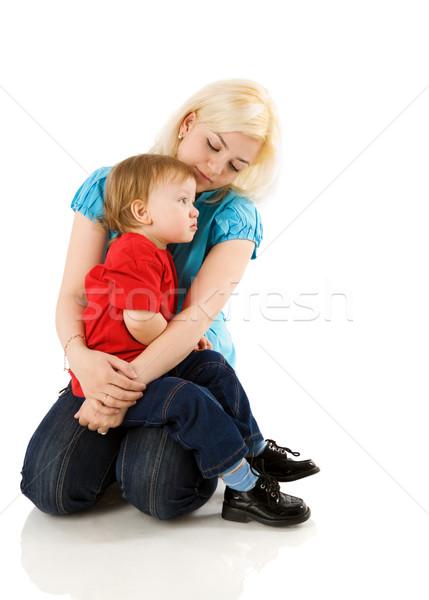 Anya megnyugtató fiú beteg ül izolált Stock fotó © sapegina