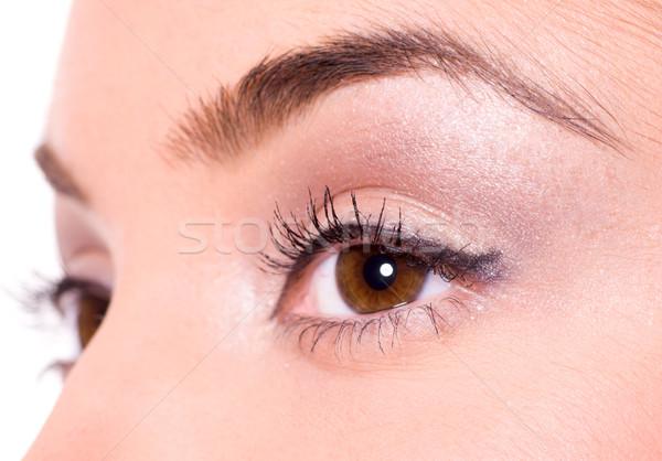 Stok fotoğraf: Kahverengi · gözleri · güzel · genç · kız · gözler · genç