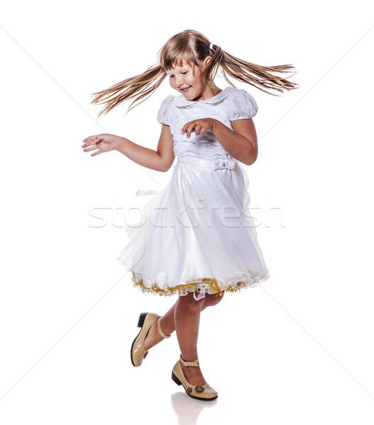 Ragazza dancing isolato piano bianco Foto d'archivio © sapegina
