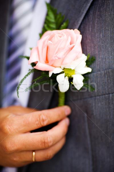 Ojal aumentó detalle boda flor traje Foto stock © sapegina