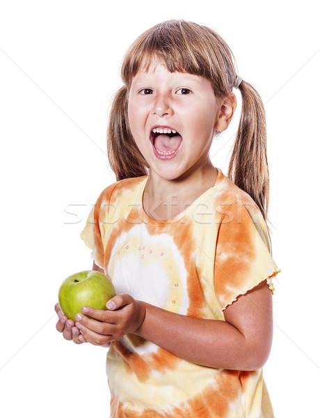 Stok fotoğraf: Kız · elma · altı · yıl · yalıtılmış
