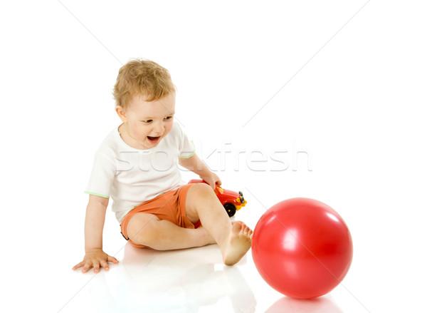 Stok fotoğraf: Erkek · oynama · oyuncaklar · yalıtılmış · beyaz
