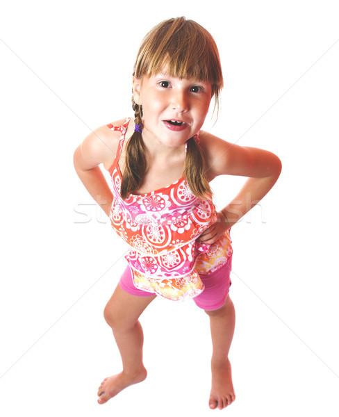 Gülme kız komik yedi yıl Stok fotoğraf © sapegina
