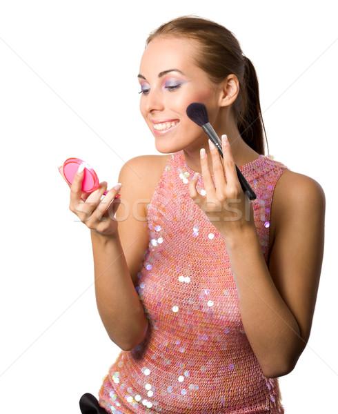 Make-up jovem bela mulher sorridente Foto stock © sapegina