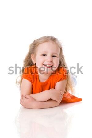 Kız dört yıl zemin yalıtılmış Stok fotoğraf © sapegina
