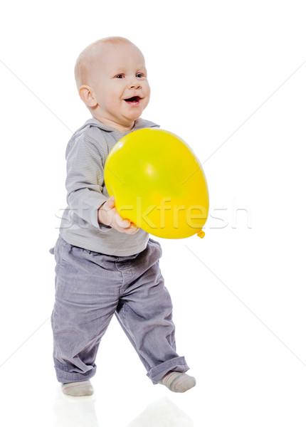 Erkek balon oynama yalıtılmış beyaz Stok fotoğraf © sapegina