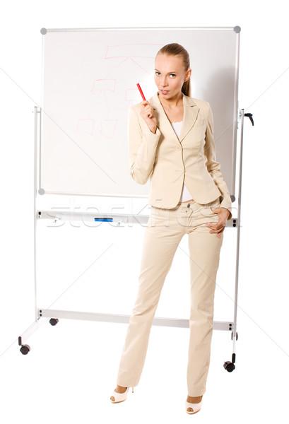 Empresária apresentação em pé isolado mulher Foto stock © sapegina