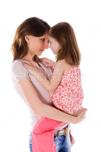 Aile sırları anne kız yalıtılmış Stok fotoğraf © sapegina