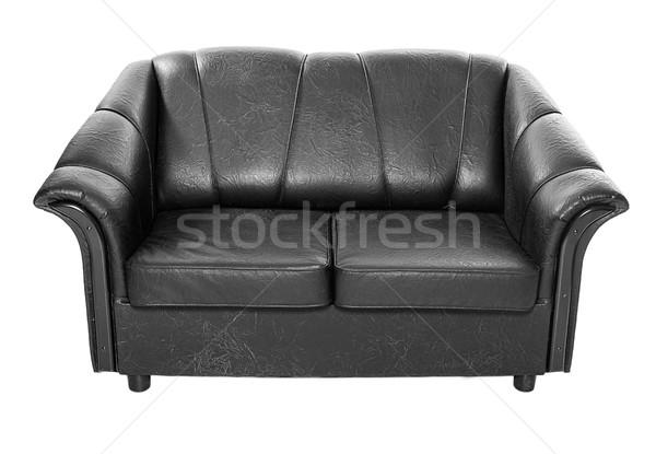 Wygodny czarny sofa skóry kanapie odizolowany Zdjęcia stock © sapegina