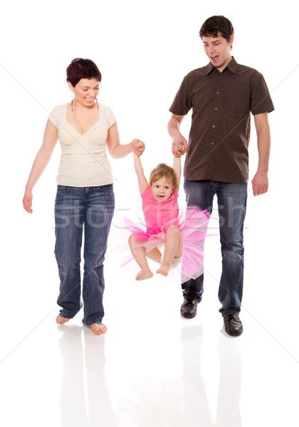 Famille heureuse jouer Kid ensemble isolé blanche Photo stock © sapegina