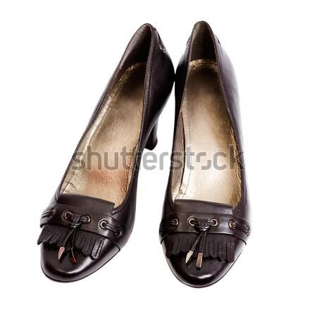 Ayakkabı çift siyah yalıtılmış beyaz Stok fotoğraf © sapegina