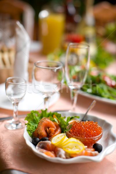 Mar comida mini conjunto caviar salmão Foto stock © sapegina