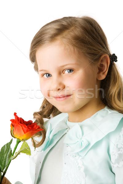Menina rosa little girl olhando para baixo isolado Foto stock © sapegina
