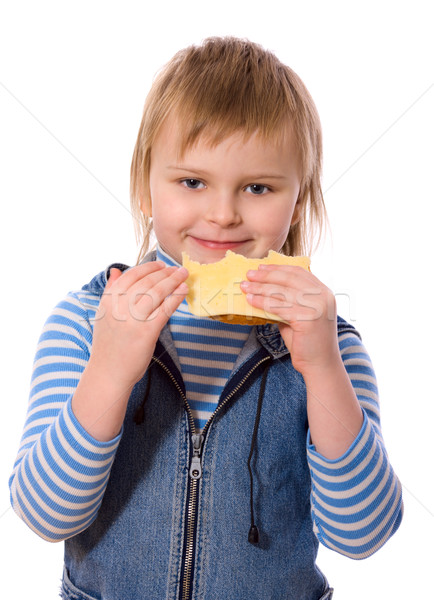 Stok fotoğraf: Kız · yeme · peynir · sandviç · yalıtılmış · beyaz