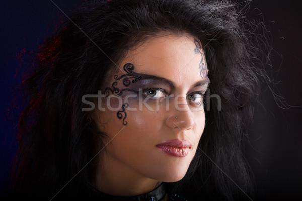 Tribal beleza bela mulher make-up escuro Foto stock © sapegina