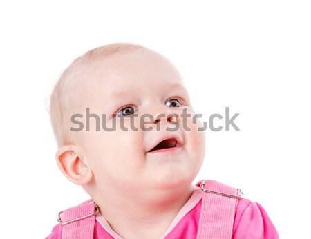 Zdjęcia stock: Dziewczyna · szczęśliwy · zdziwiony · odizolowany