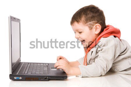 Erkek yazarak dizüstü bilgisayar gülme yalıtılmış beyaz Stok fotoğraf © sapegina