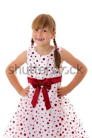 Gülme kız mutlu yedi yıl portre Stok fotoğraf © sapegina