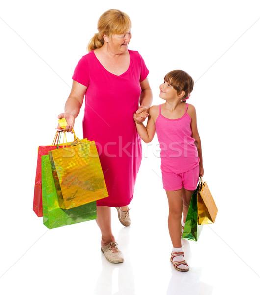 Büyükanne çocuk alışveriş yalıtılmış beyaz aile Stok fotoğraf © sapegina