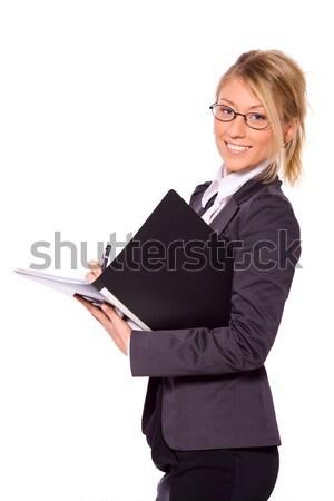 Iş kadını fikir yalıtılmış beyaz kadın gülümseme Stok fotoğraf © sapegina