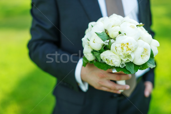 groom with peonies bouquet Stock photo © sapegina