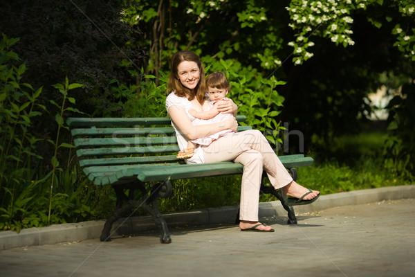 Stok fotoğraf: Mutlu · anne · zaman · kız · açık · havada